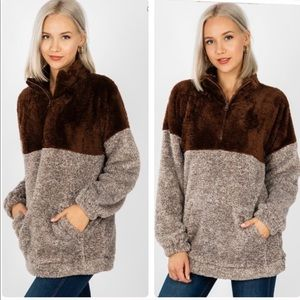 1 LEFT!! Soft Faux Fur Sherpa Pullover Top